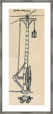 Leonardo Da Vincis Lifting Gear Framed Print by Science Source