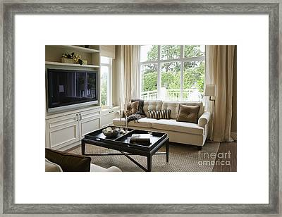 Living Room In An Upscale Home Framed Print