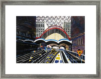 London Canary Wharf Station Framed Print by Lesley Giles
