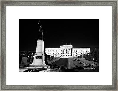 Lord Carson Statue At The Northern Ireland Parliament Buildings Stormont Belfast Northern Ireland Uk Framed Print by Joe Fox