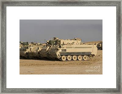 M113 Varient At Camp Warhorse Framed Print by Terry Moore