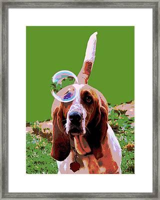 Maisie In Green Framed Print by Dorrie Pelzer