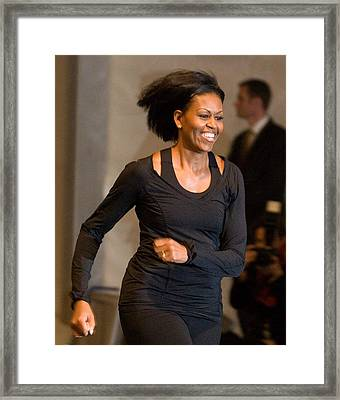 Michelle Obama At A Public Appearance Framed Print