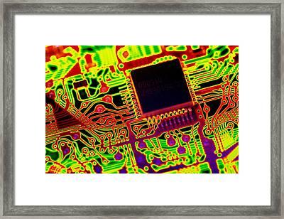 Microprocessor Chip, Computer Artwork Framed Print by Pasieka