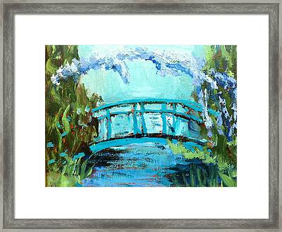 Monet's Bridge Framed Print by Joan Bohls