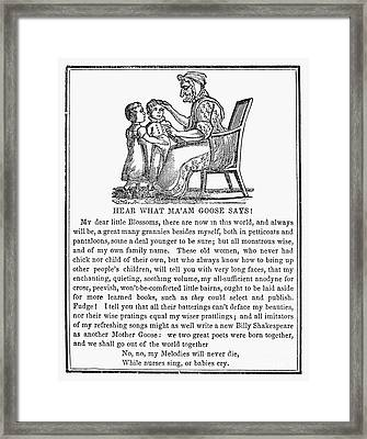 Mother Goose, 1833 Framed Print