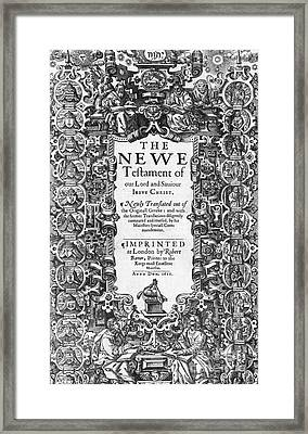 New Testament, King James Bible Framed Print by Photo Researchers