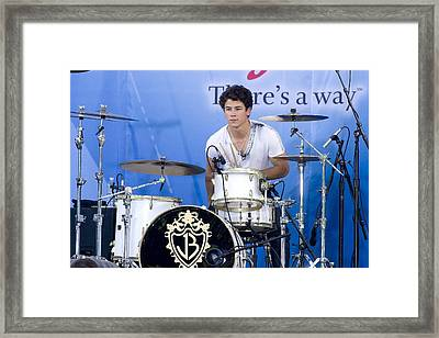 Nick Jonas At Talk Show Appearance Framed Print by Everett