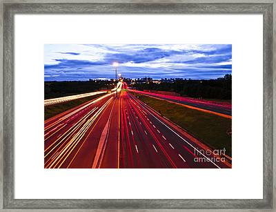 Night Traffic Framed Print by Elena Elisseeva