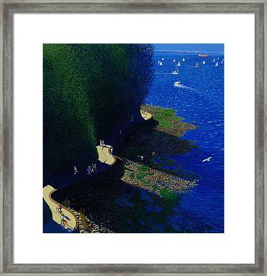 North Seawall At Low Tide Framed Print by Neil Woodward