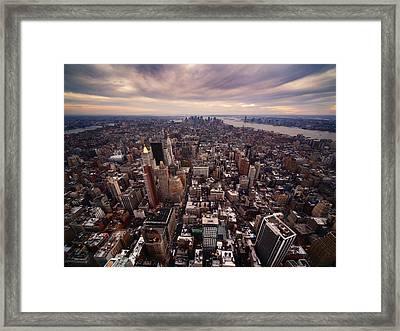 Nyc Downtown Framed Print by Nina Papiorek