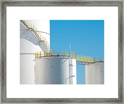 Framed Print featuring the photograph Oil Tanks by Hans Engbers