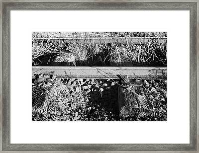 Old Abandoned Great Southern And Western Railway Line Connected To Worn Wooden Sleepers Framed Print by Joe Fox