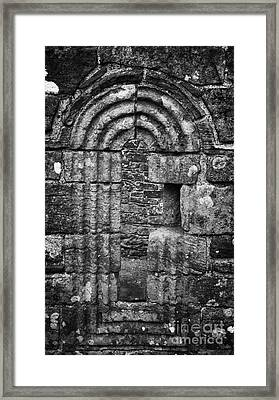 Ornate Carved Window In The 12th Century Banagher Old Church County Derry Londonderry Framed Print by Joe Fox