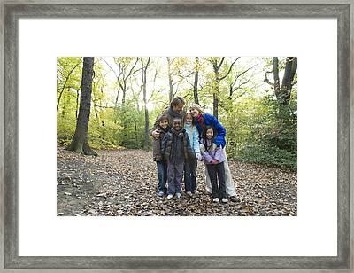 Parents And Children In A Wood Framed Print