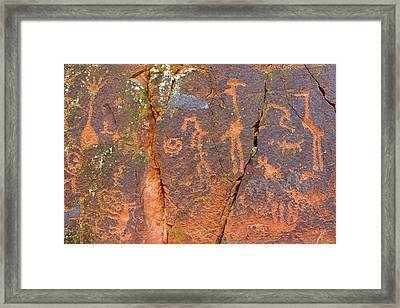 Petroglyphs Believed To Have Been Made Framed Print by Charles Kogod