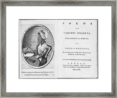 Phillis Wheatley, African-american Poet Framed Print by Photo Researchers