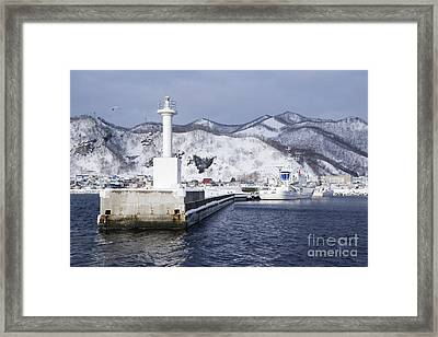 Pier Light At Fishing Port Harbor Framed Print by Jeremy Woodhouse