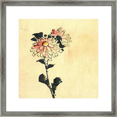 2 Pink Flowers 1840 Framed Print by Padre Art