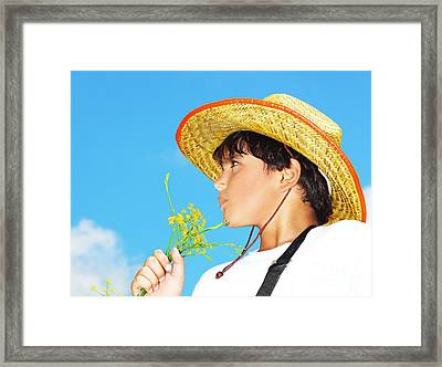 Portrait Of A Boy Framed Print by Anna Om