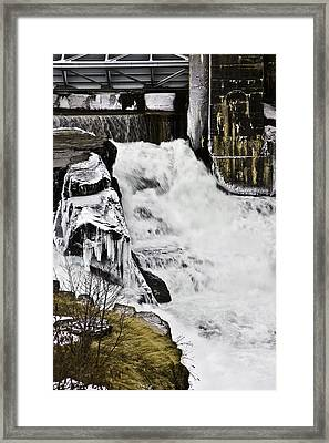 Post Falls Dam Framed Print by Grover Woessner
