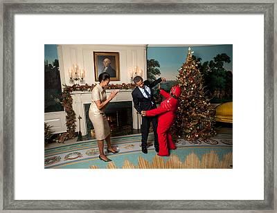 President And Michelle Obama Greet Framed Print