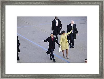 President And Michelle Obama Wave Framed Print