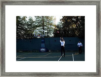 President Barack Obama Shoots Hoops Framed Print
