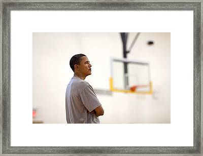 President Barack Obama Watches Framed Print