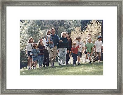 President George H. W. Bush And Wife Framed Print by Everett