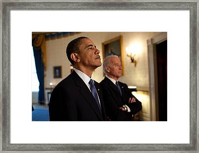 President Obama And Vp Biden Framed Print by Everett
