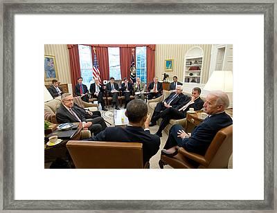 President Obama And Vp Joe Biden Meet Framed Print