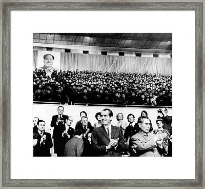 President Richard Nixon And Premier Framed Print