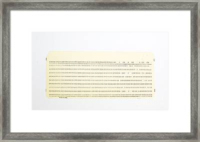 Punch Card Framed Print by Photo Researchers, Inc.