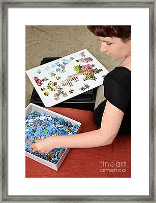 Puzzle Therapy Framed Print by Photo Researchers, Inc.