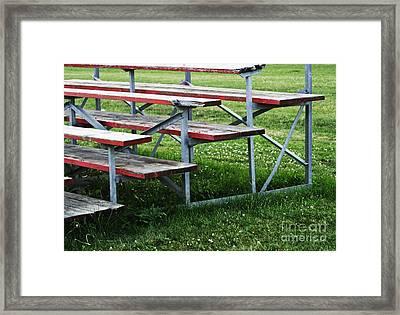 Red Wooden Bench Framed Print by Blink Images