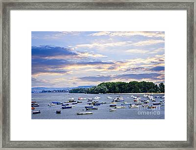 River Boats On Danube Framed Print by Elena Elisseeva