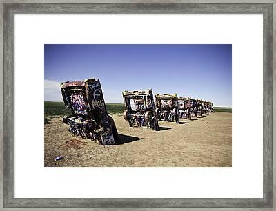 Rt 66 Cadillac Ranch Framed Print by Paul Plaine