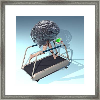 Running Brain, Conceptual Artwork Framed Print by Laguna Design