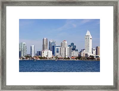San Diego Skyline Framed Print by Jeff Lowe