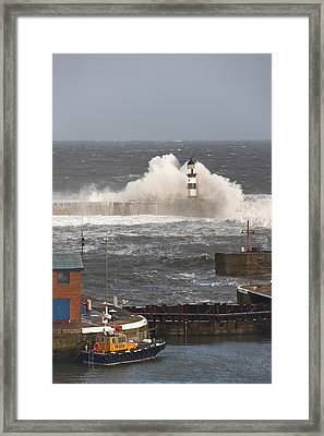 Seaham, Teesside, England Waves Framed Print by John Short