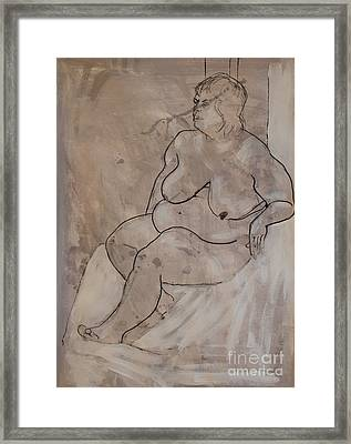 Seated Female Nude Framed Print by Joanne Claxton
