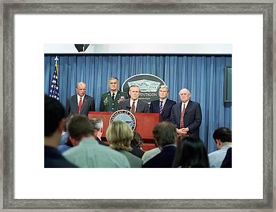 Secretary Of Defense Donald H. Rumsfeld Framed Print by Everett