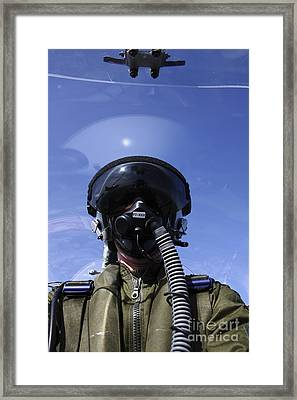 Self-portrait Of A Pilot Flying Framed Print by Daniel Karlsson