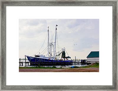 Shrimp Boat At Dock Framed Print by Barry Jones