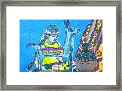 Silver Llama Framed Print by Julie Butterworth