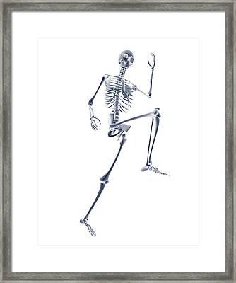 Skeleton Running Framed Print by Pasieka