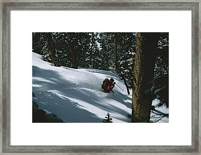Skier Phil Atkinson Skiing Backcountry Framed Print by Tim Laman