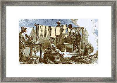 Slaves In Union Camp Framed Print by Photo Researchers