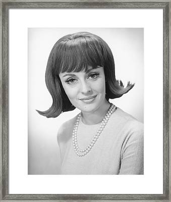 Smiling Woman Posing In Studio, (b&w), Portrait Framed Print by George Marks